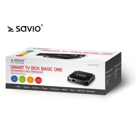 SAVIO SMART TV BOX BASIC ONE, 1/8 GB, ANDROID 7.1, HDMI V2.0, 4K, USB, WIFI, SD TB-B01